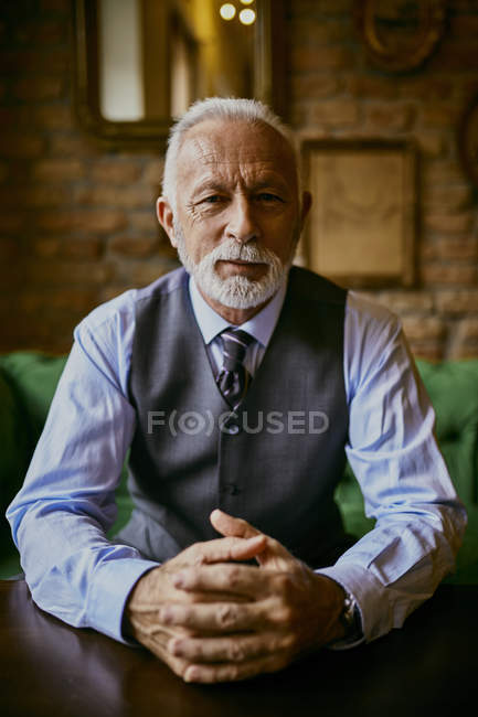 Portrait of elegant senior man sitting on couch in a cafe — Stock Photo