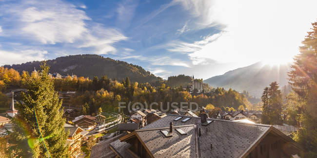 Switzerland, Canton of Bern, Gstaad, townscape with Gstaad Palace Hotel — Foto stock
