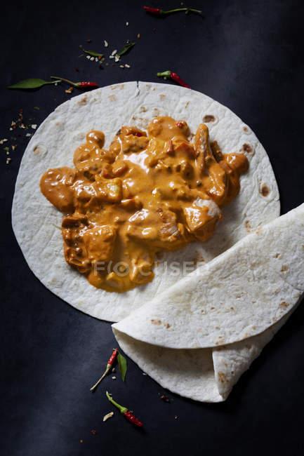Currygericht mit Chapati — Stockfoto