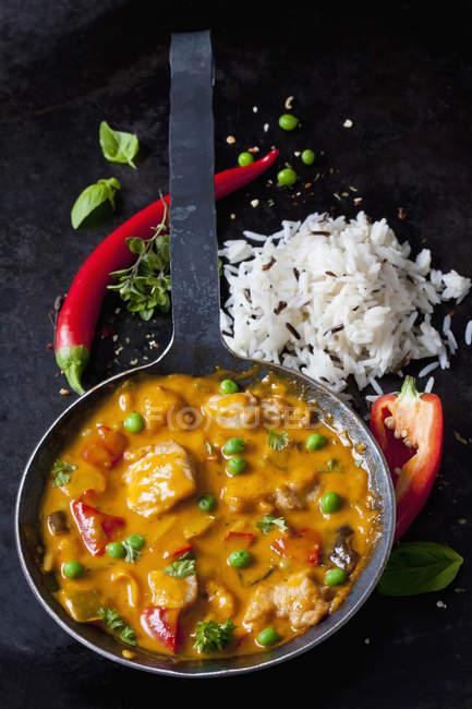 Thai Curry mit Hähnchenfilets und Basmatireis — Stockfoto