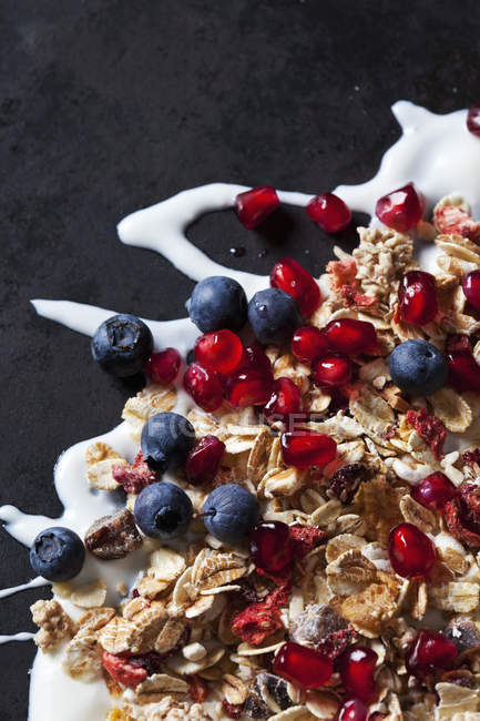 Fruit granola with dried and fresh fruits on yoghurt splash — Stock Photo