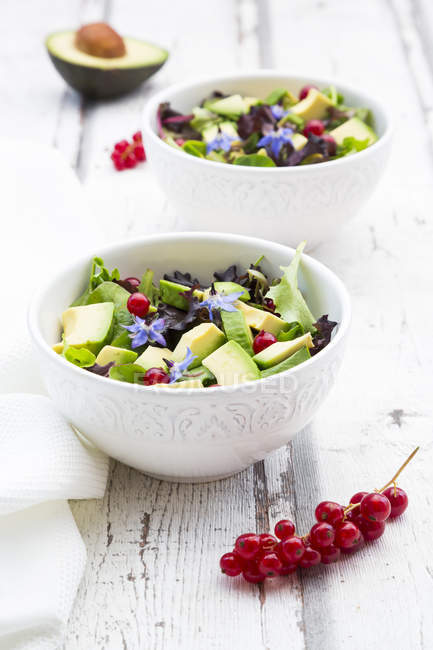 Mixed salad with avocado, red currants and borage blossoms — Stock Photo