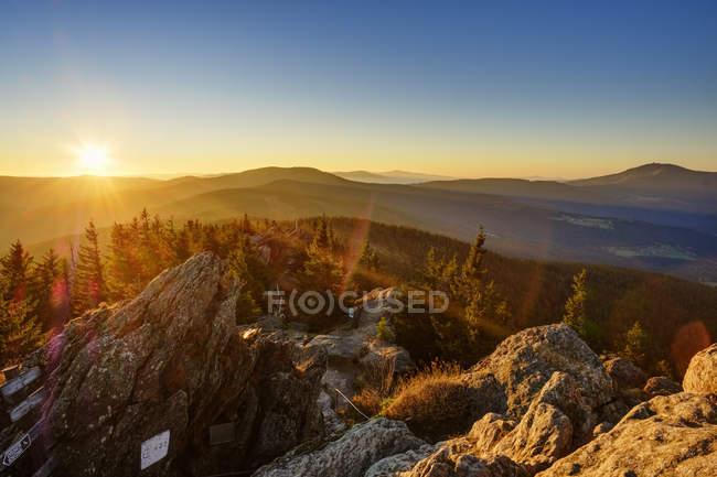 Germany, Bavaria, Upper Palatinate, Bohemian Forest, Border Czechia, Bavarian Forest, Grosser Osser near Lam at sunrise — Stock Photo