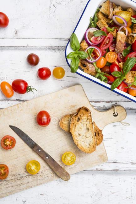 Panzanella made of roasted Ciabatta, rocket, red onions, tomatoes and basil — Stock Photo