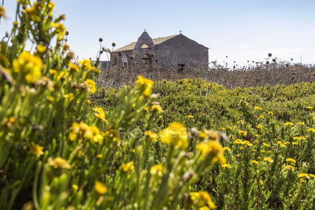 Grecia, Peloponneso, Messenia, Methoni, rovina della chiesa nell'ex Fortezza Methoni — Foto stock
