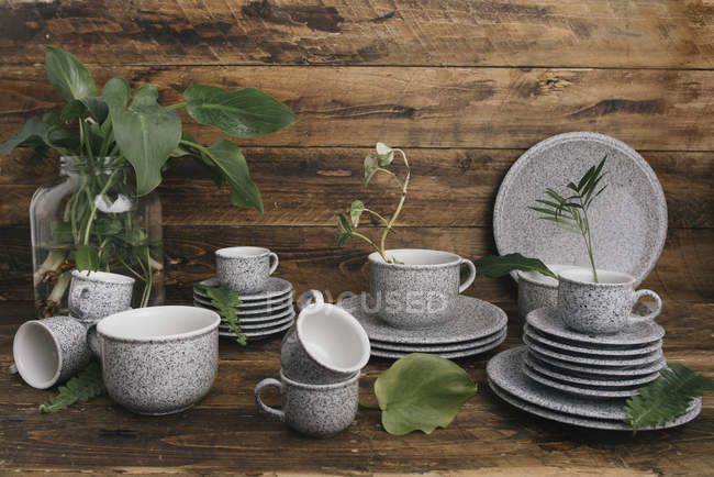 Coffee set in granite look — Stock Photo