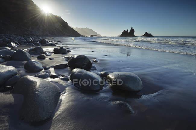 Spain, Canary Islands, Tenerife, Benijo beach at sunset — Stock Photo