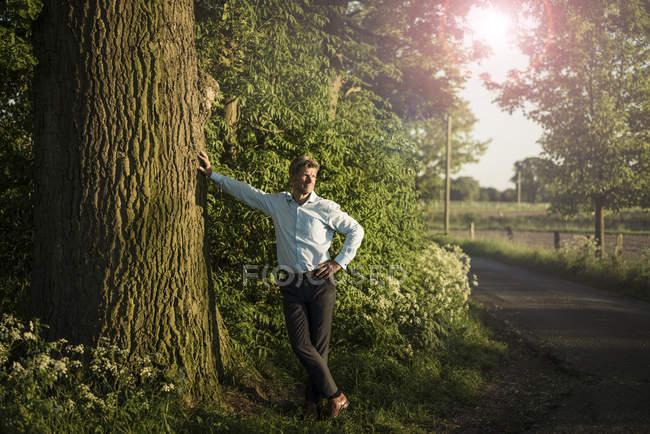 Businessman standing on tree — Stock Photo