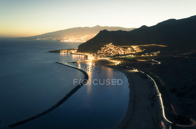 Espanha, Ilhas Canárias, Tenerife, San Andres praia à noite — Fotografia de Stock