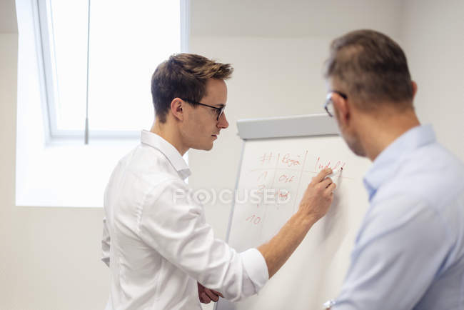 Two businessmen discussing at flip chart in office — Photo de stock