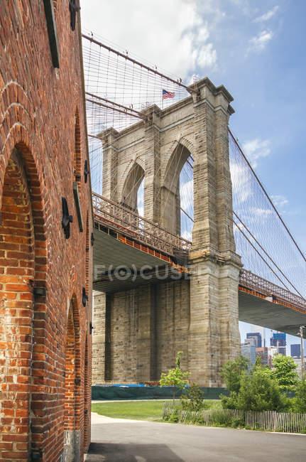 Estados Unidos, Nueva York, Brooklyn, Vista de Brooklyn Bridgre desde Brooklyn Bridge Park - foto de stock