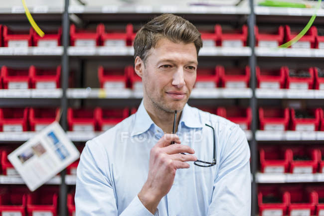 Portrait of confident businessman at shelf in factory storeroom — стокове фото