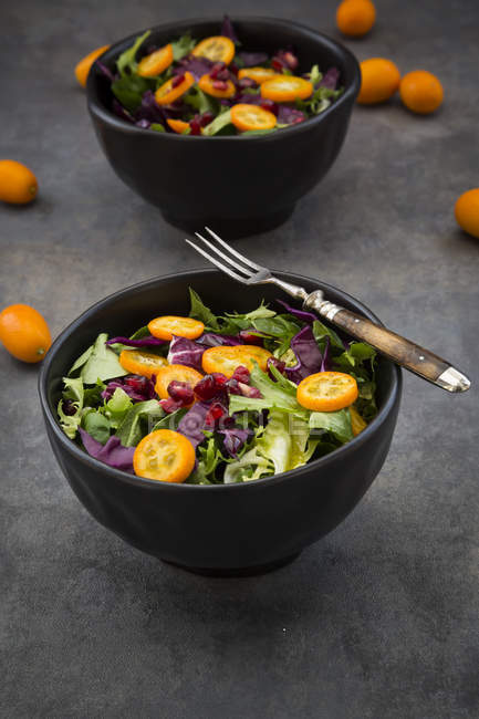 Bowl of mixed green salad with red cabbage, kumquat and pomegranate seeds — стоковое фото