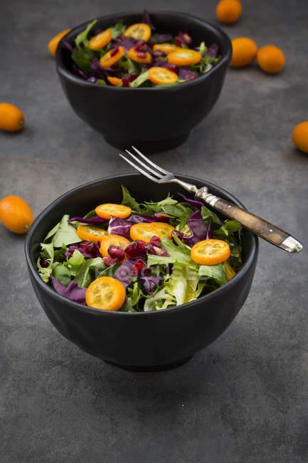 Schüssel mit gemischtem grünen Salat mit Rotkohl, Kumquat und Granatapfelkernen — Stockfoto