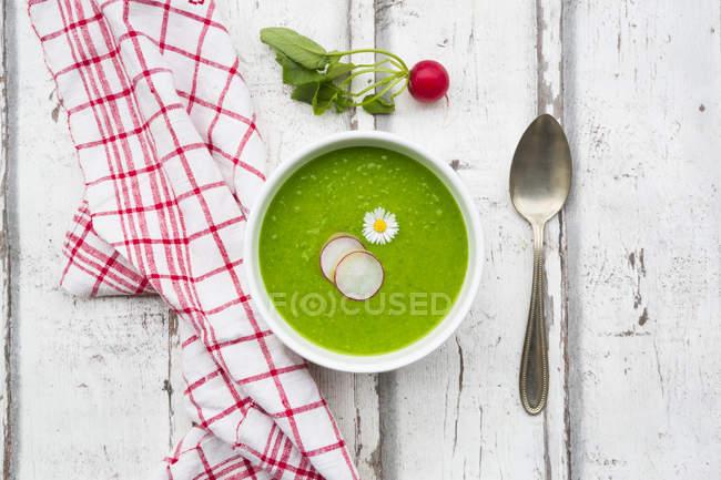 Sopa verde rábano orgánica - foto de stock