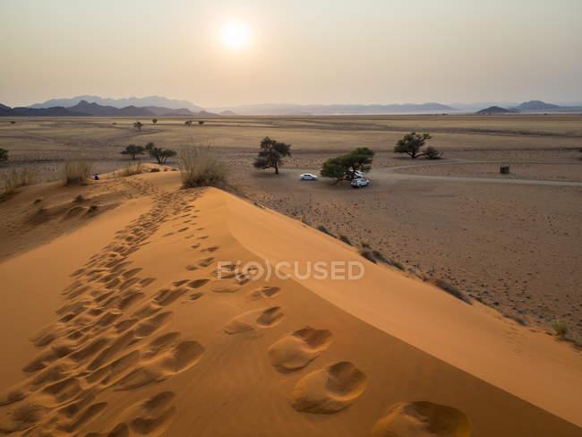 Afrique, Namibie, désert namibien, parc national de Naukluft, Sossusvlei, dune d'Elim au lever du soleil — Photo de stock