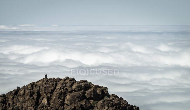 Spain, Canary Islands, Tenerife, person on summit in Teide National Park — Stock Photo