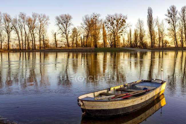 Germany, Saxony, Elbe river with rowing boat in the morning — Stock Photo