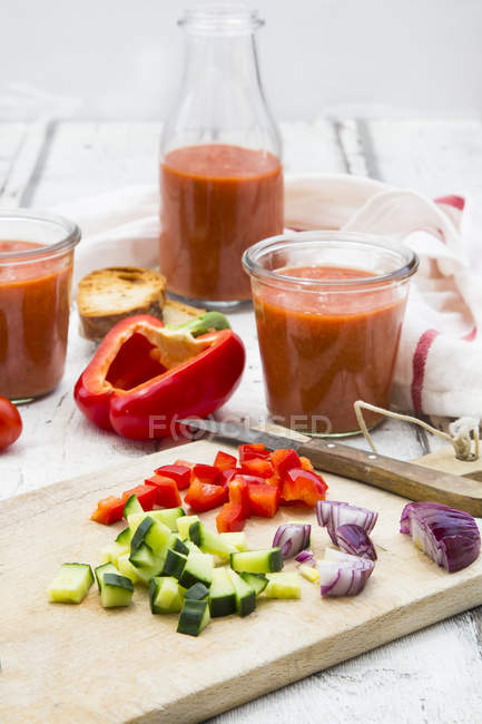 Close up of ingredients for Gazpacho — Stock Photo