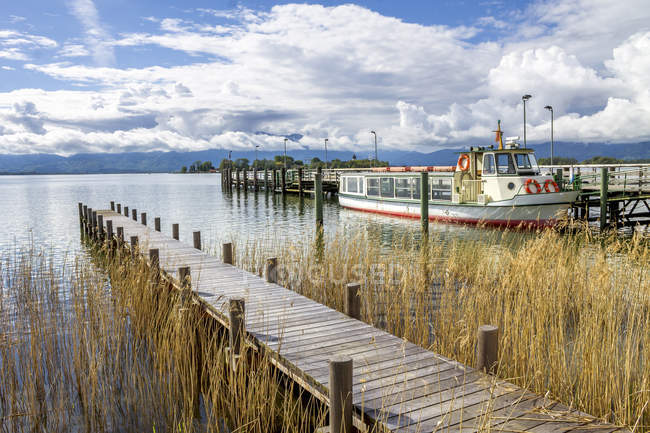Germany, Bavaria, Gstadt am Chiemsee, jetty — Stock Photo