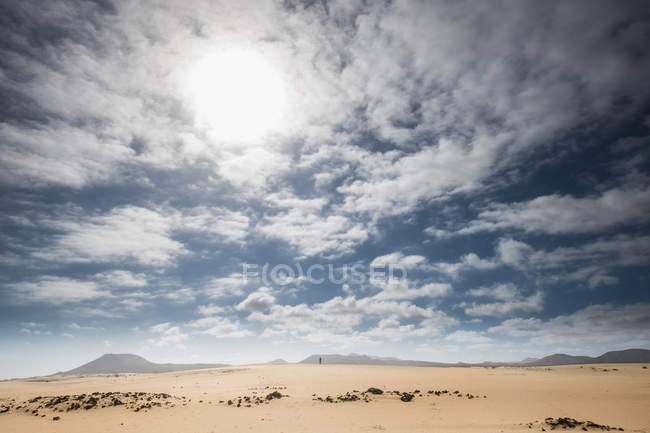 Spain, Canary Islands, Fuerteventura, Parque Natural de Corralejo, small person standing on dune — стоковое фото