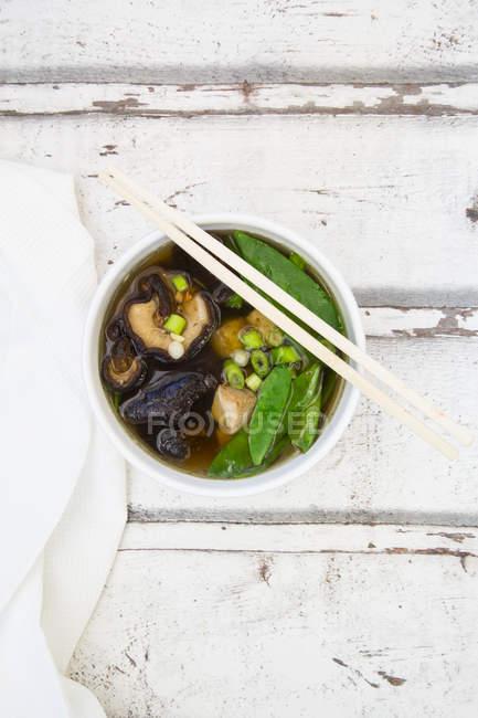 Soupe miso japonaise, pois sucriers, shitake, tofu et germes de mung — Photo de stock