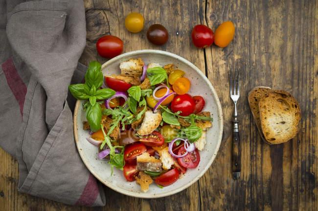 Panzanella hecha de Ciabatta asada, cohete, cebolla roja, tomates y albahaca - foto de stock