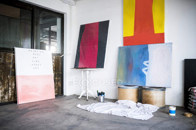 Artwork and Paintings in an art studio — Stock Photo
