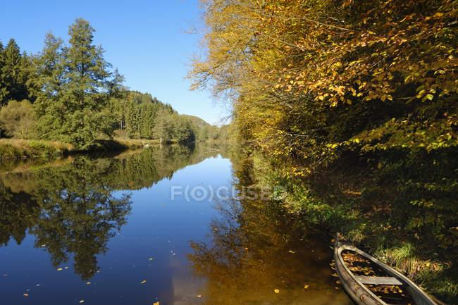 Германия, Бавария, Нижняя Бавария, Баварский лес, заповедник Обере Ильц, река Ильц осенью — стоковое фото