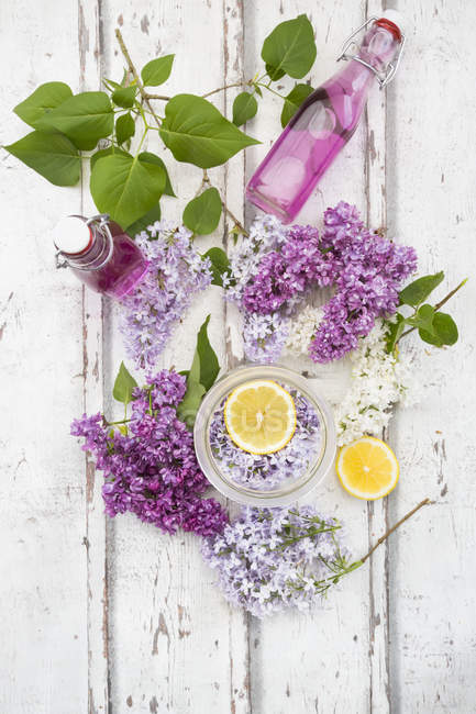Close up of  Homemade lilac sirup — Stock Photo