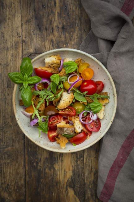 Panzanella di Ciabatta arrosto, rucola, cipolle rosse, pomodori e basilico — Foto stock