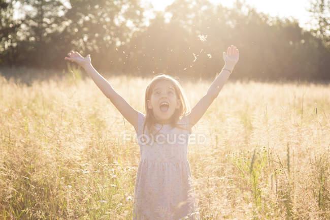 Молода дівчина стоїть у полі влітку ввечері. — стокове фото