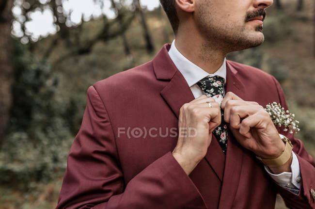 Nahaufnahme eines Mannes im Anzug im Wald, der seine Krawatte justiert — Stockfoto