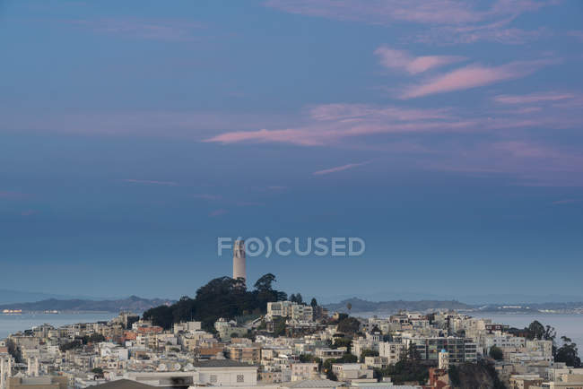 USA, California, San Francisco, Coit Tower and Telegraph Hill in the evening — Stock Photo