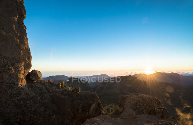 Spain, Canary Islands, Gran Canaria, view from Roque Nublo at sunset — Stockfoto