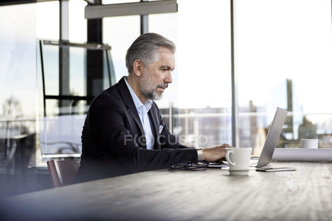 Businessman using laptop at desk in office — Stock Photo