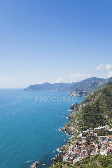Italien, ligurien, cinque terre, riomaggiore, riviera di levante, meer — Stockfoto