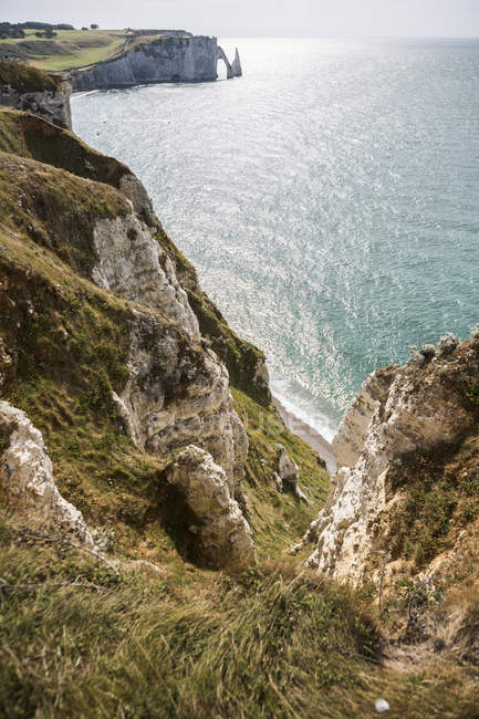France, Normandy, Cote d'Albatre, rock coast of Etretat — Stock Photo
