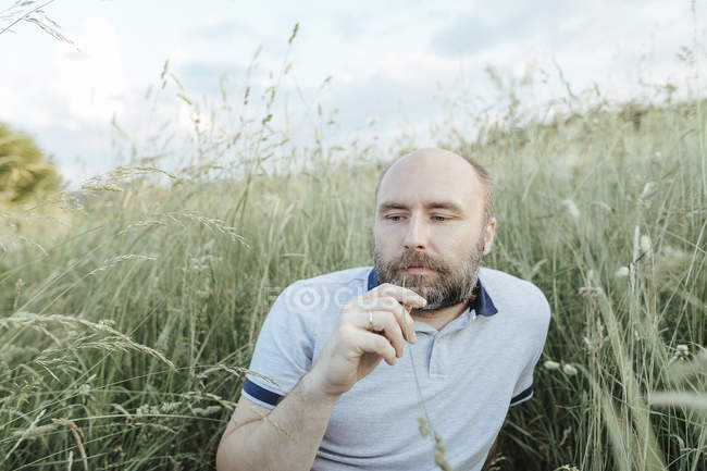 Retrato de homem maduro relaxante na natureza — Fotografia de Stock