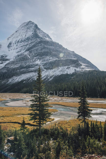 Canadá, British Columbia, Rocky Mountains, Mount Robson Provincial Park, Fraser-Fort George H, Mist Glacier, Robson River — Fotografia de Stock