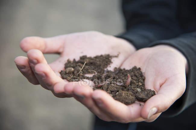 Mani che tengono il terreno con vermi — Foto stock