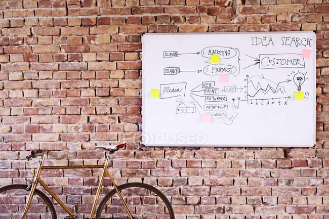 Fahrrad und Whiteboard mit Schlüsselwörtern an der Ziegelwand im Büro — Stockfoto
