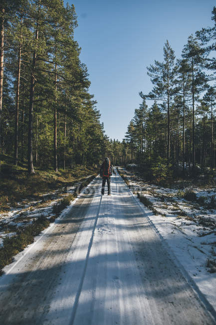 Sweden, Sodermanland, backpacker standing on path in remote forest in winter — Stock Photo