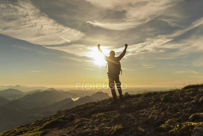 Austria, Salzkammergut, Escursionista che raggiunge la vetta, alza le armi, tifo — Foto stock
