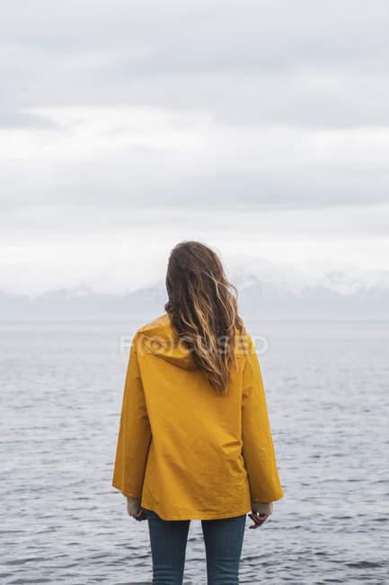 Ісландія, жінка, що стоїть біля моря — стокове фото