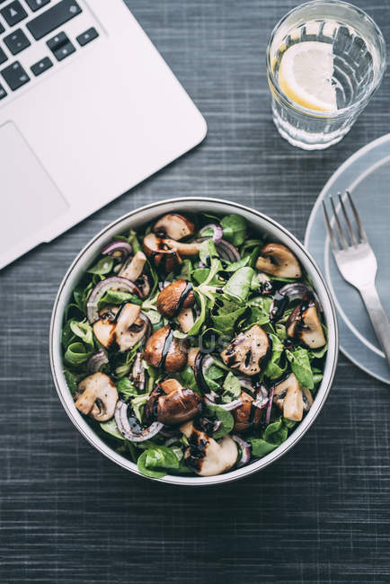 Lunch box with field salad, onions, roasted mushrooms, onions and balsamico — Stock Photo