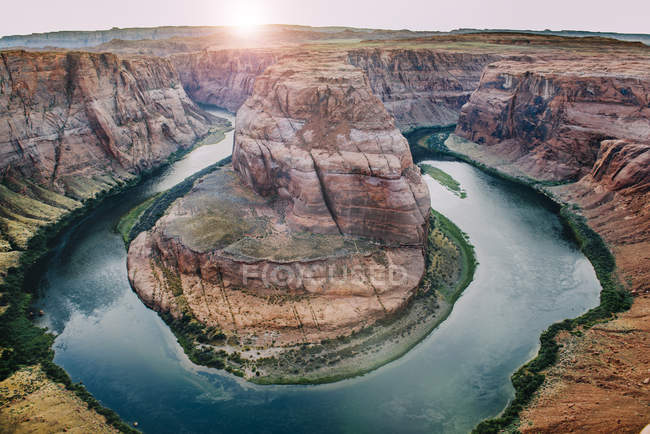 SA, Arizona, Page, Colorado River, Glen Canyon National Recreation Area, Horseshoe Bend at sent sent — стоковое фото