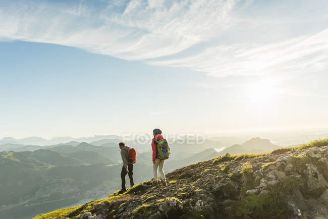 Austria Salzkammergut Couple Hiking In The Mountains Mature