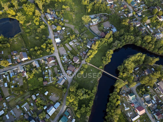 Russia, Leningrad Oblast, Aerial view of Tikhvin, Tikhvinka River — Stock Photo