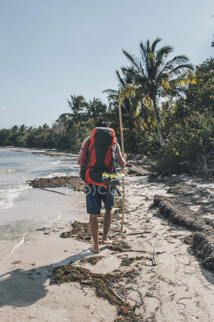 Cuba, Cienaga de Zapata, Backpacker a piedi sulla spiaggia, vista posteriore — Foto stock